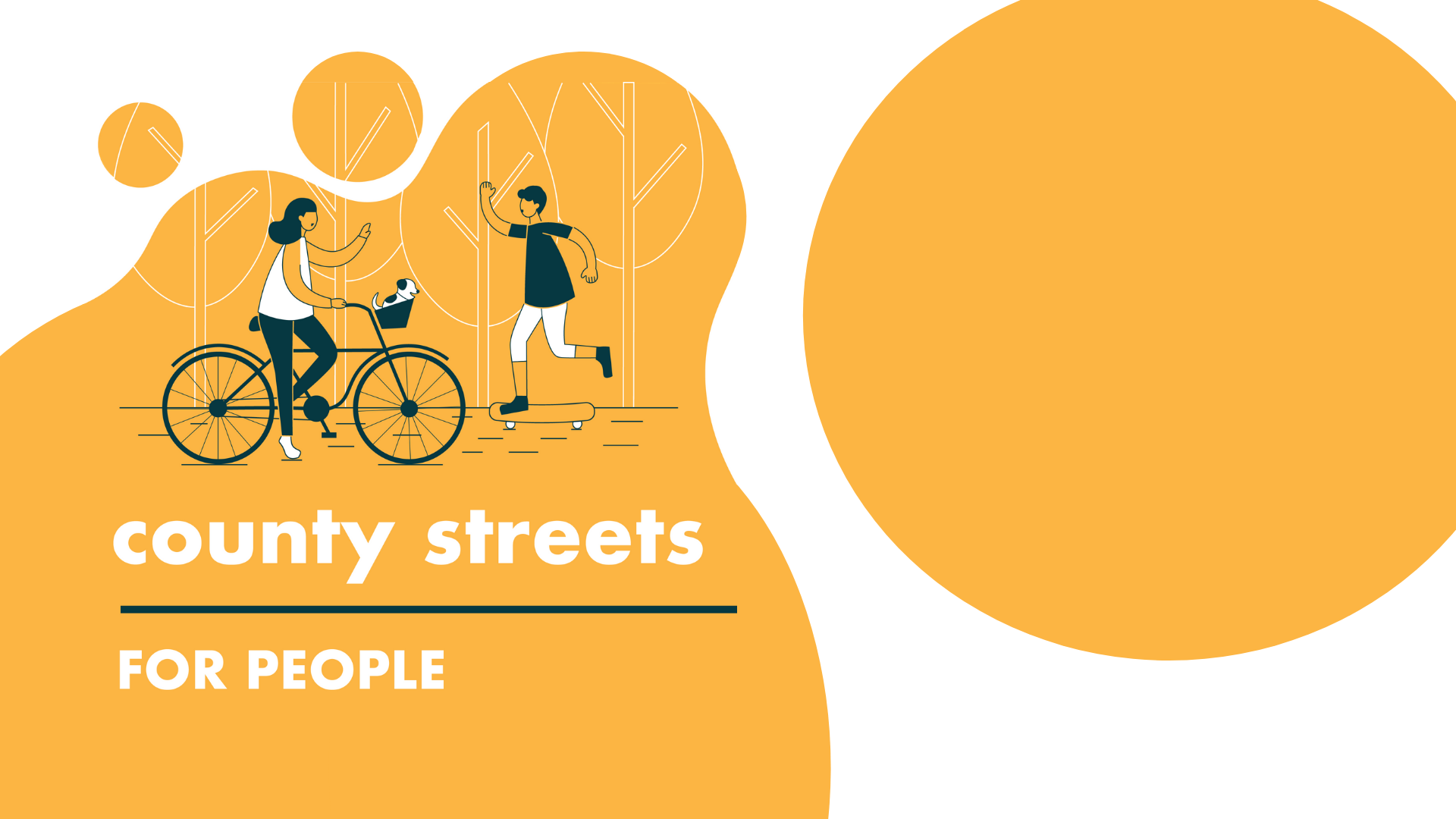 County Streets for People logo featuring a person biking and a person skateboarding about to high-five