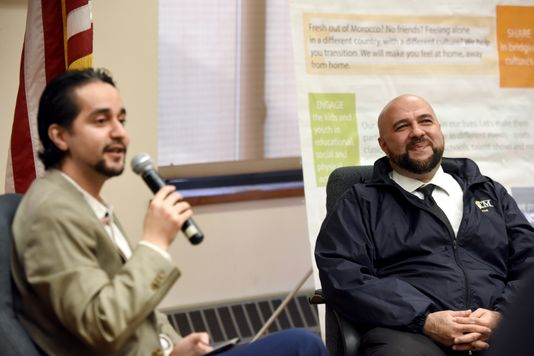 Yassine Elkaryani serves as the moderator for a conversation with Prospect Park Mayor Mohamed T. Khairullah. Khairullah provided insight and tips for the average person to start their involvement in local politics during the event at the Secaucus Public Library on Sunday, December 23, 2018. The Moroccan American Recreational Organization Council (MAROC) organized the event. (Photo: Amy Newman/NorthJersey.com)