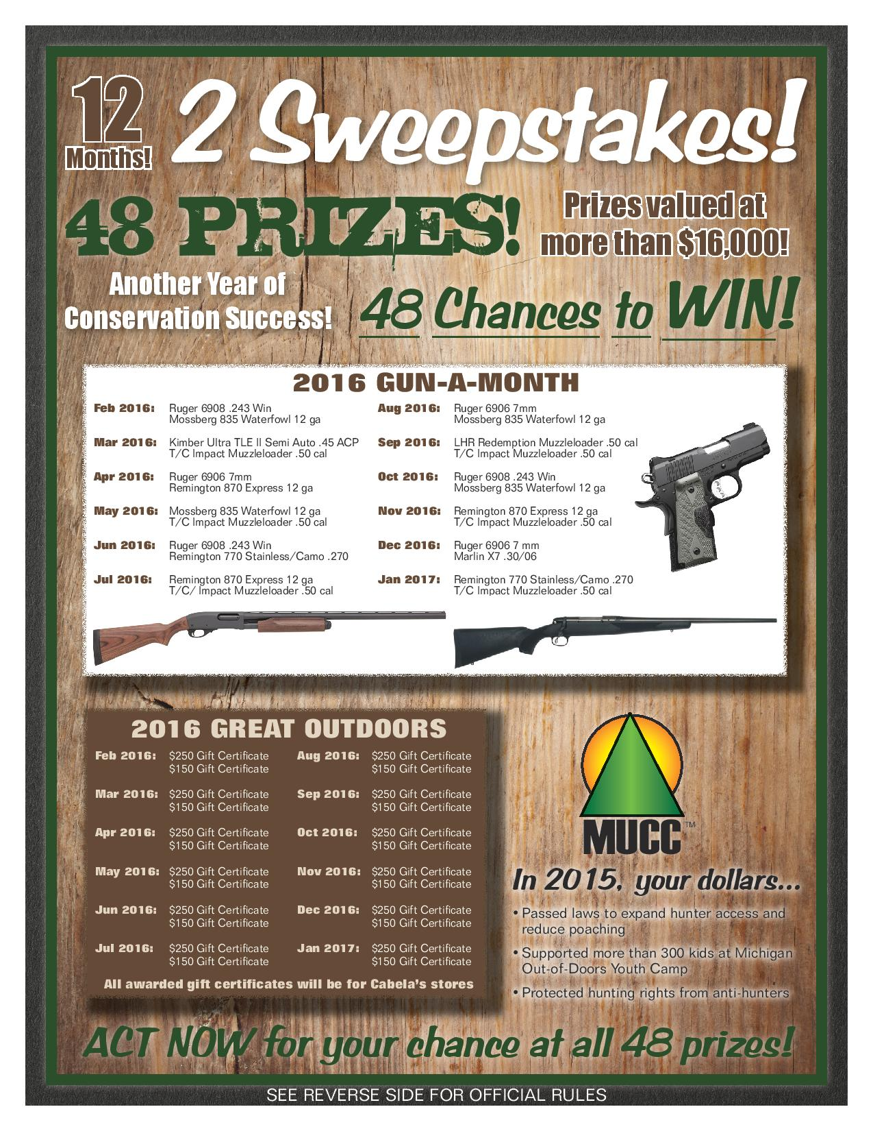 2016 Sweepstakes Flyer