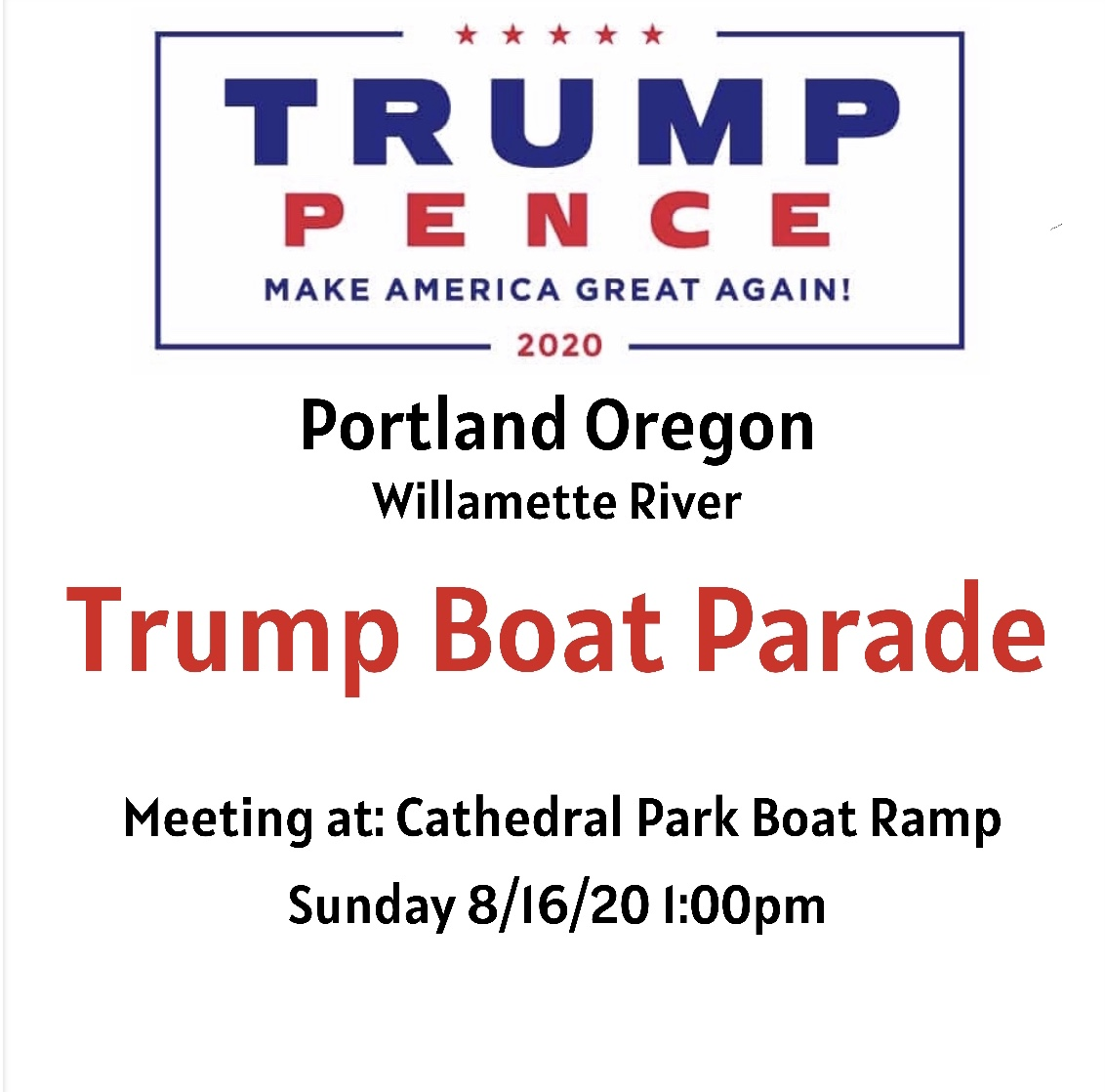Cathedral Park Boat Ramp at 1:00 p.m.