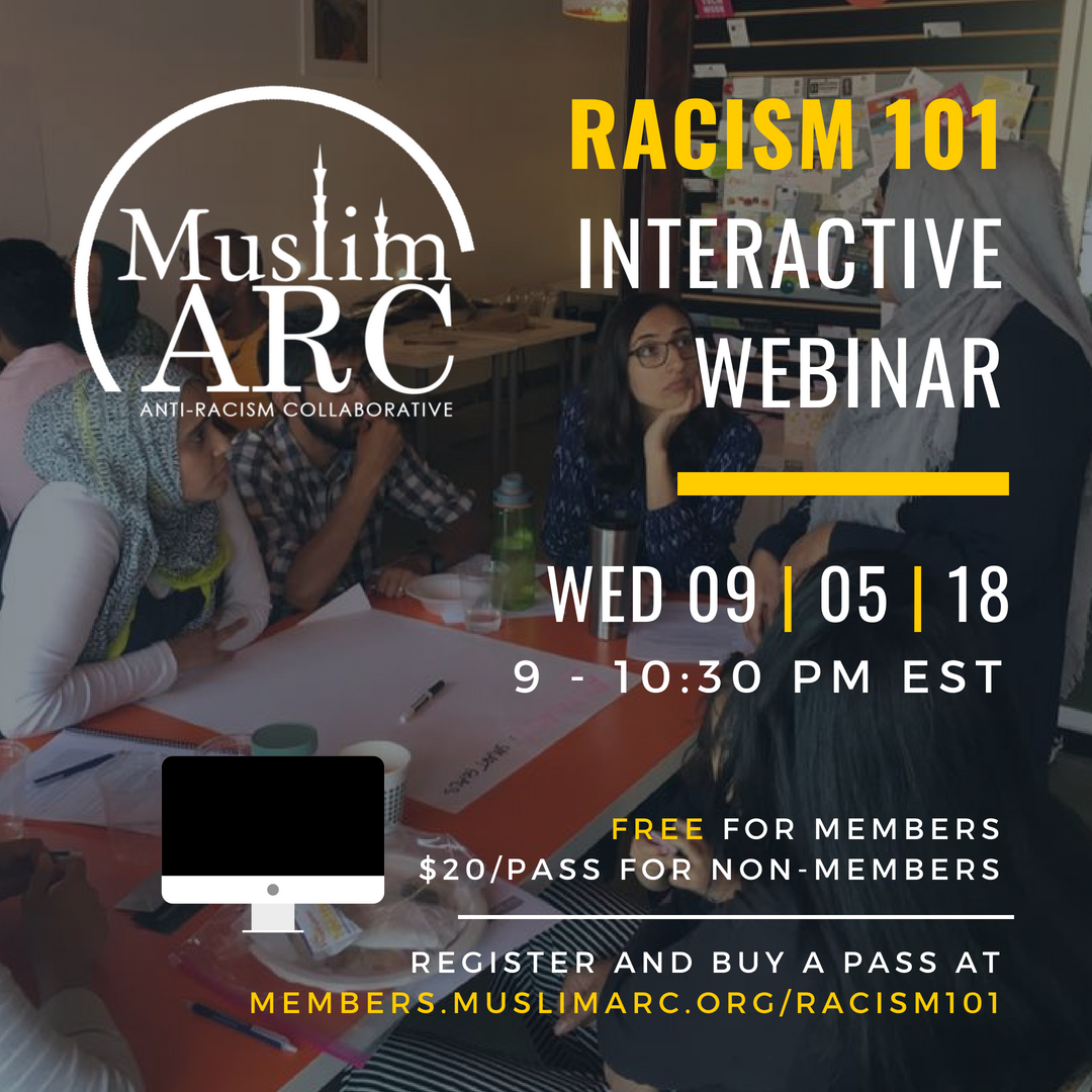 Flier for the Racism 101 Webinar with details