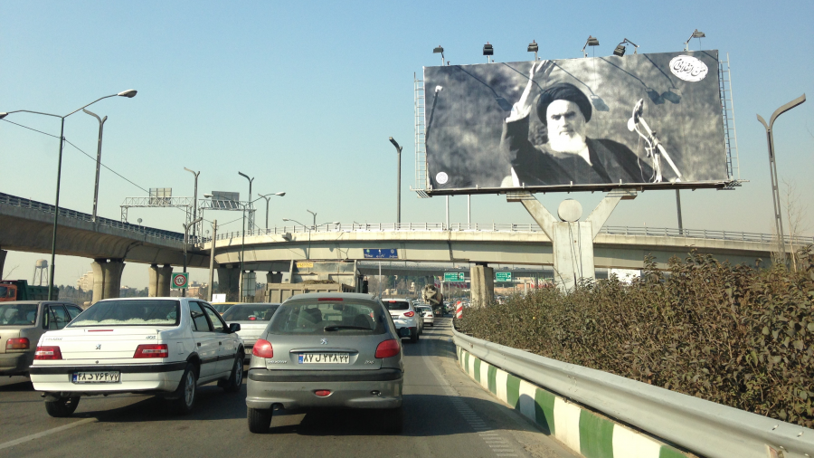 Just after the anniversary of the Islamic Iranian revolution, a billboard in Tehran displays a photo of the supreme leader. Credit: Matthew Bell