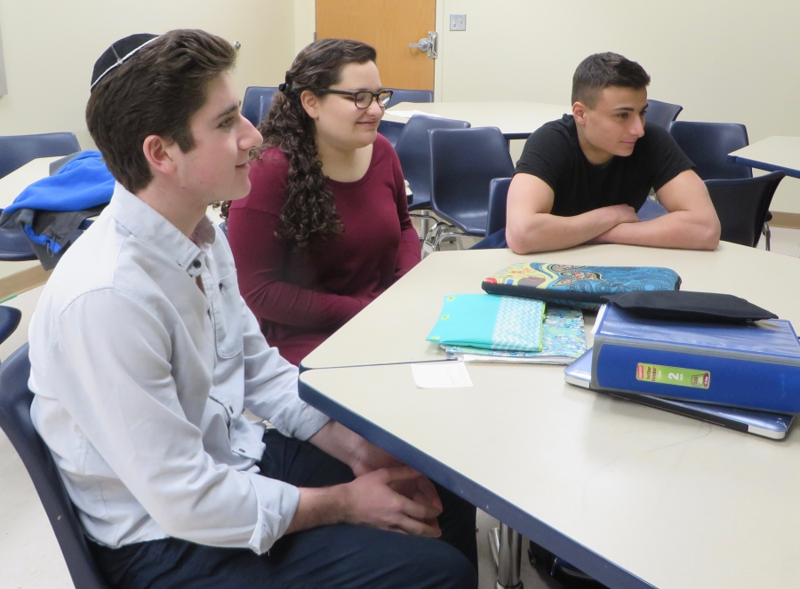 Students Eitan Cohen, Elana Kravitz and Daniel Levy are all in Hani Abo Awad's Arabic class. Credit: Carol Zall
