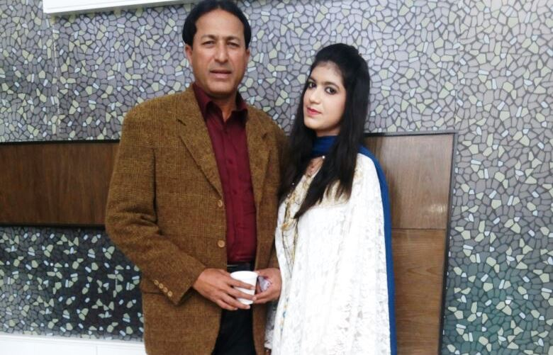 Fareeha with her father after a function