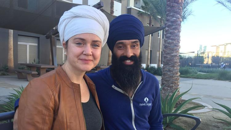 Harisimran Khalsa (left) and her husband Davindar Heyre have formed the Duwara Consciousness Foundation. As part of the nonprofit's mission, the Oceanside couple hope to raise money for a food trailer that will feed homeless people in San Diego County. (Gary Warth)