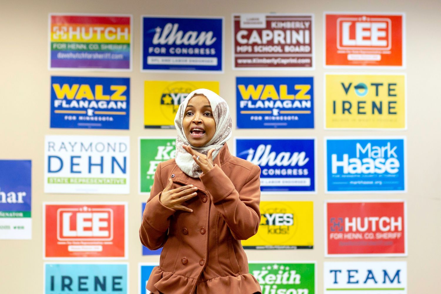 Democratic congressional candidate Ilhan Omar speaks to a group of volunteers in Minneapolis, Minnesota, on October 13, 2018. (KEREM YUCEL/AFP/GETTY IMAGES)
