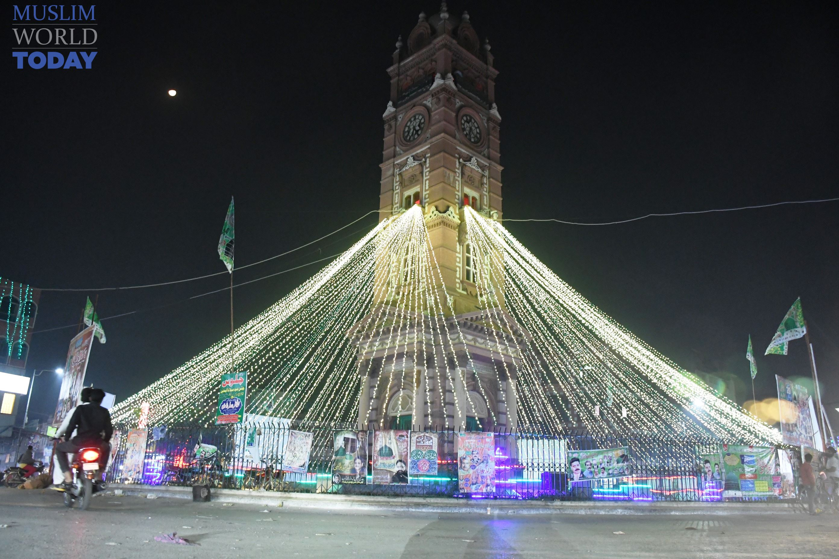 Faisalabad's clock Tower is decorated with colorful lights