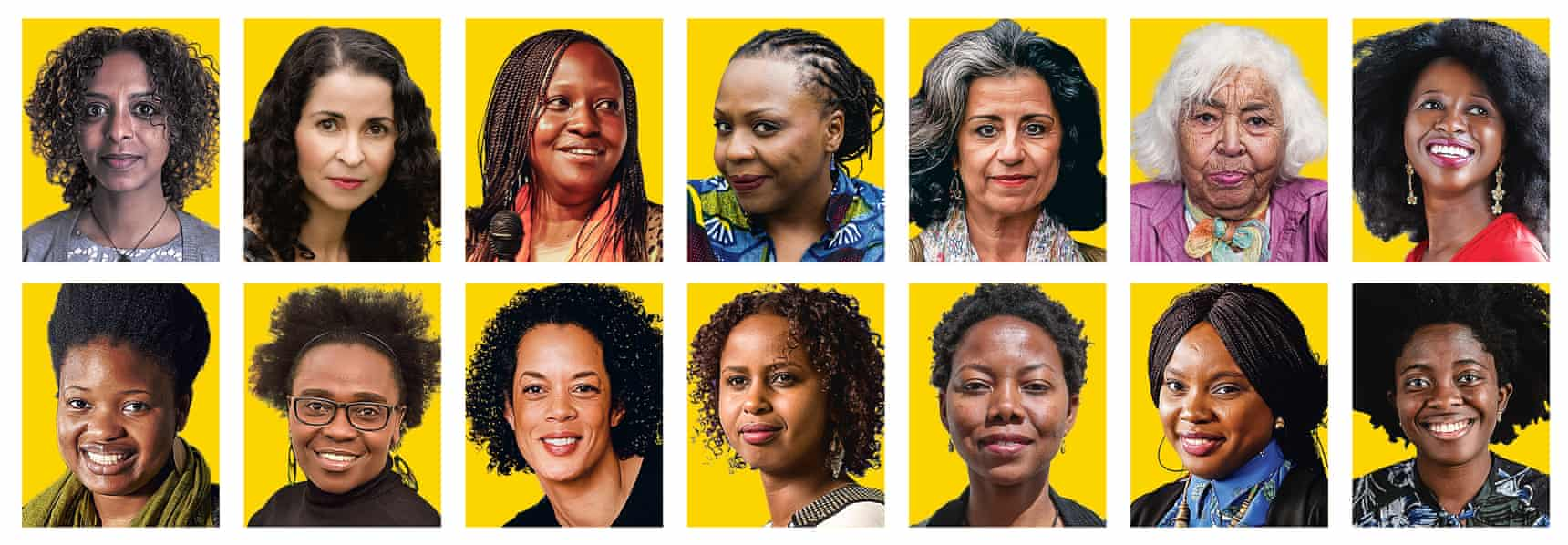 Top row (from left): Maaza Mengiste, Laila Lalami, Doreen Baingana, Lola Shoneyin, Ahdaf Soueif, Nawal El Saadawi and Imbolo Mbue. Bottom row: Chibundu Onuzo, Jennifer Nansubuga Makumbi, Aminatta Forna, Nadifa Mohamed, NoViolet Bulawayo, Ayobami Adebayo and Yaa Gyasi. Illustration: Guardian Design