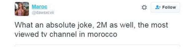 Twitter user Maroc writes: What an absolute joke, 2M as well, the most viewed TV channel in Morocco.