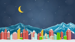 Illustration of a crescent moon over a wintry city.