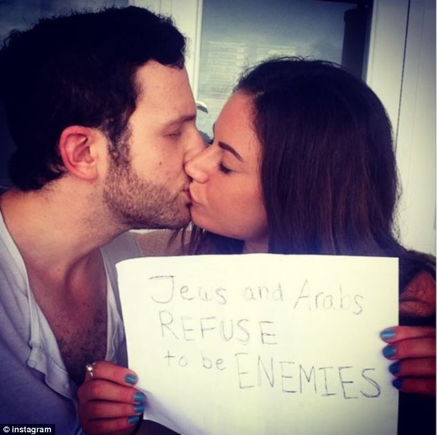 Romeo and Juliet: Sulome Anderson, 29, kisses her Jewish boyfriend in this picture which has been shared more than 2,000 times on Twitter