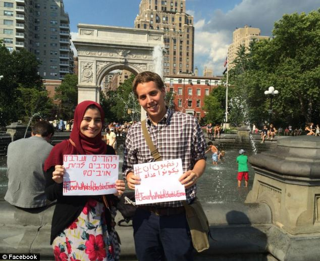 Abraham Gutman, 23, and Dania Darwish, 21, both students at Hunter College in New York, launched Facebook page 'Jews and Arabs Refuse To Be Enemies' which has more than 7,000 likes