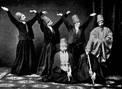 Old photo of sufi dervishes of the Mevlevi order.