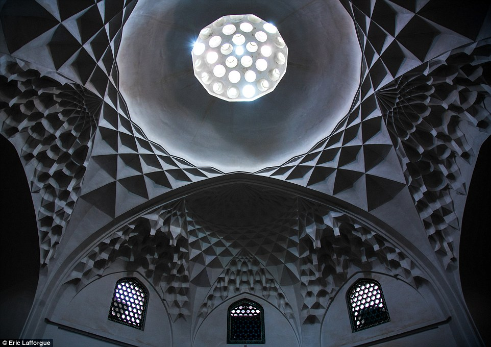 The town of Kashan, halfway to Isfahan from Tehran, hosts the best historical houses, including the 18th century Abbasian Historical House, which features this ceiling