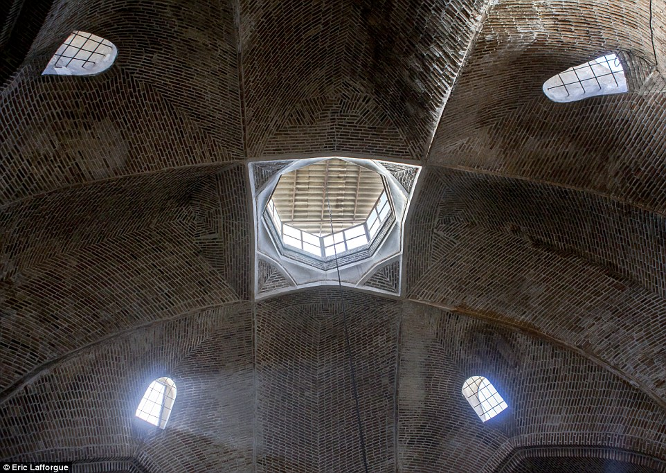 The ceiling in The Old Bazaar in Tabriz, which is a maze of roofed brick  buildings and enclosed areas thatconsist of several sub-bazaars