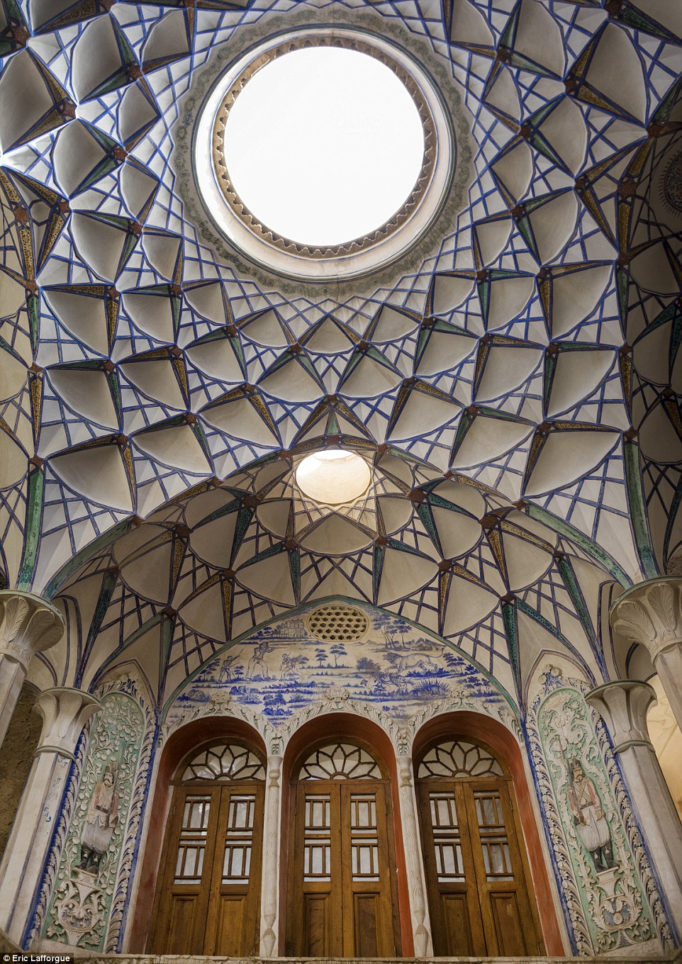 The ceiling in the Sultan Amir Ahmad Bathhouse,a traditional Iranian public bathhouse in Kashan that was constructed in the 16th century
