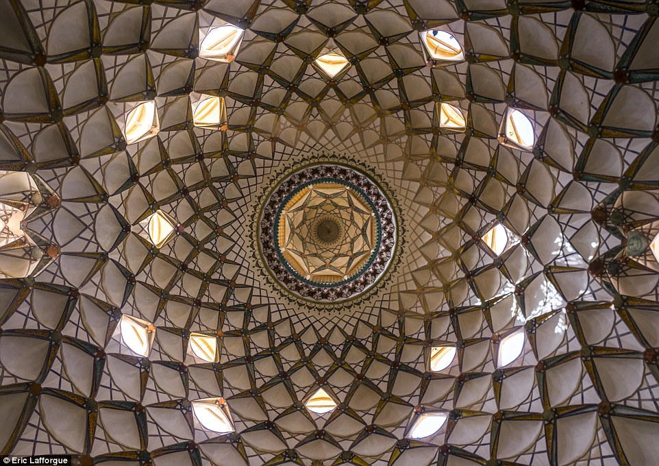 This ceiling in the Borujerdi House, a historic house in Kashan, was built in 1857. It took 18 years to build the masterpiece