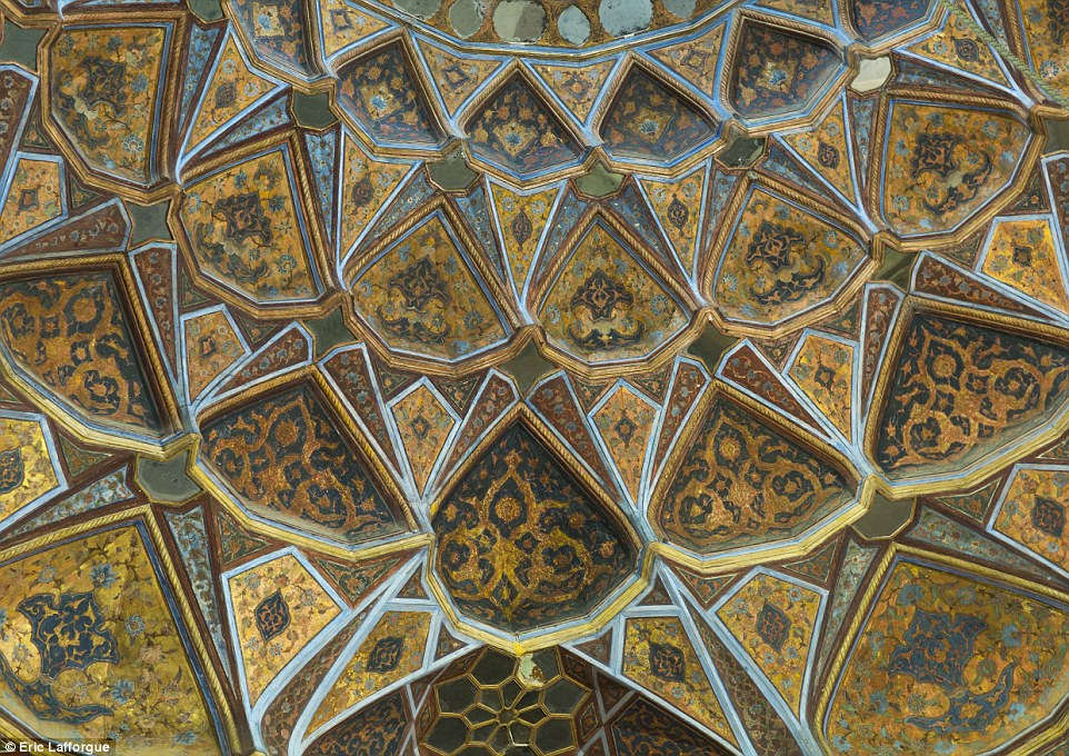 This painted ceiling can be found inside Behesht Palace, Isfahan. The work of art was built in 1669 and it is the only one of this kind left in Iran
