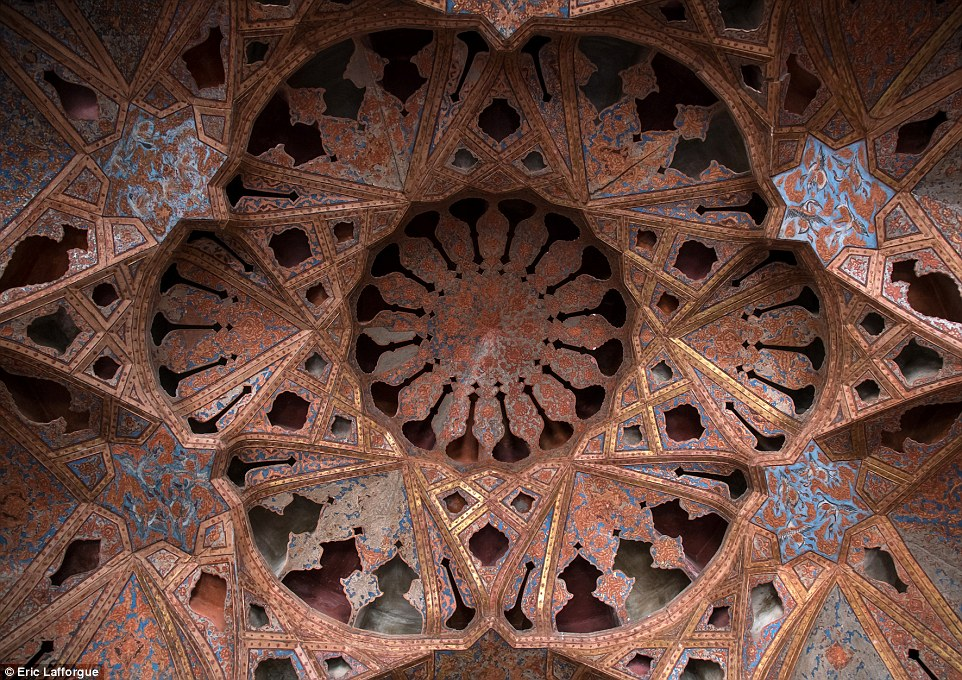 The acoustic ceiling in the music room of Ali Qapu palace. The 3D design was perfect for intimate music, especially Iranian ballad, which was part of Iranian traditional music performed in the 1600s, when it was built
