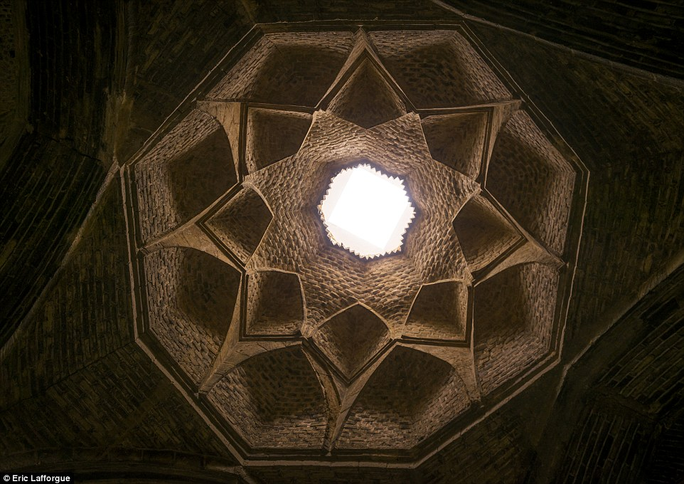 The ceiling In Friday Mosque, located in Isfahan, 211 miles south of Tehran. The mosque is typical architectural expression from the Seljuk rule in Persia