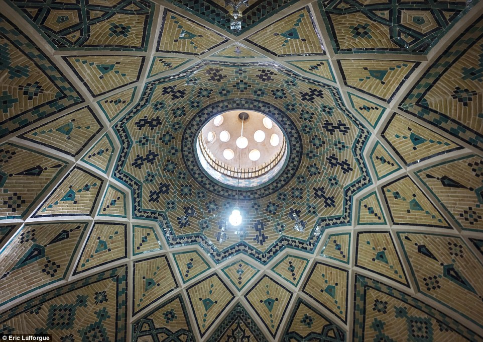 The ceiling In Sultan Amir Ahmad Bathhouse, Kashan. Also known as the Qasemi Bathhouse, the building is a traditional Iranian public bathhouse that was constructed in the 16th century