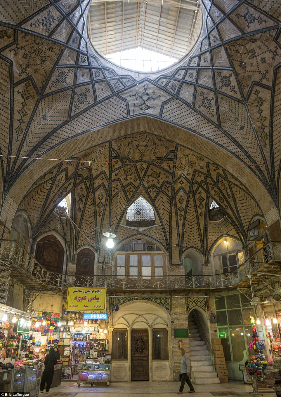 The Grand Bazaar Tehran is an old historical market in the capital that is split into several corridors over six miles in length, each specialising in different types of goods