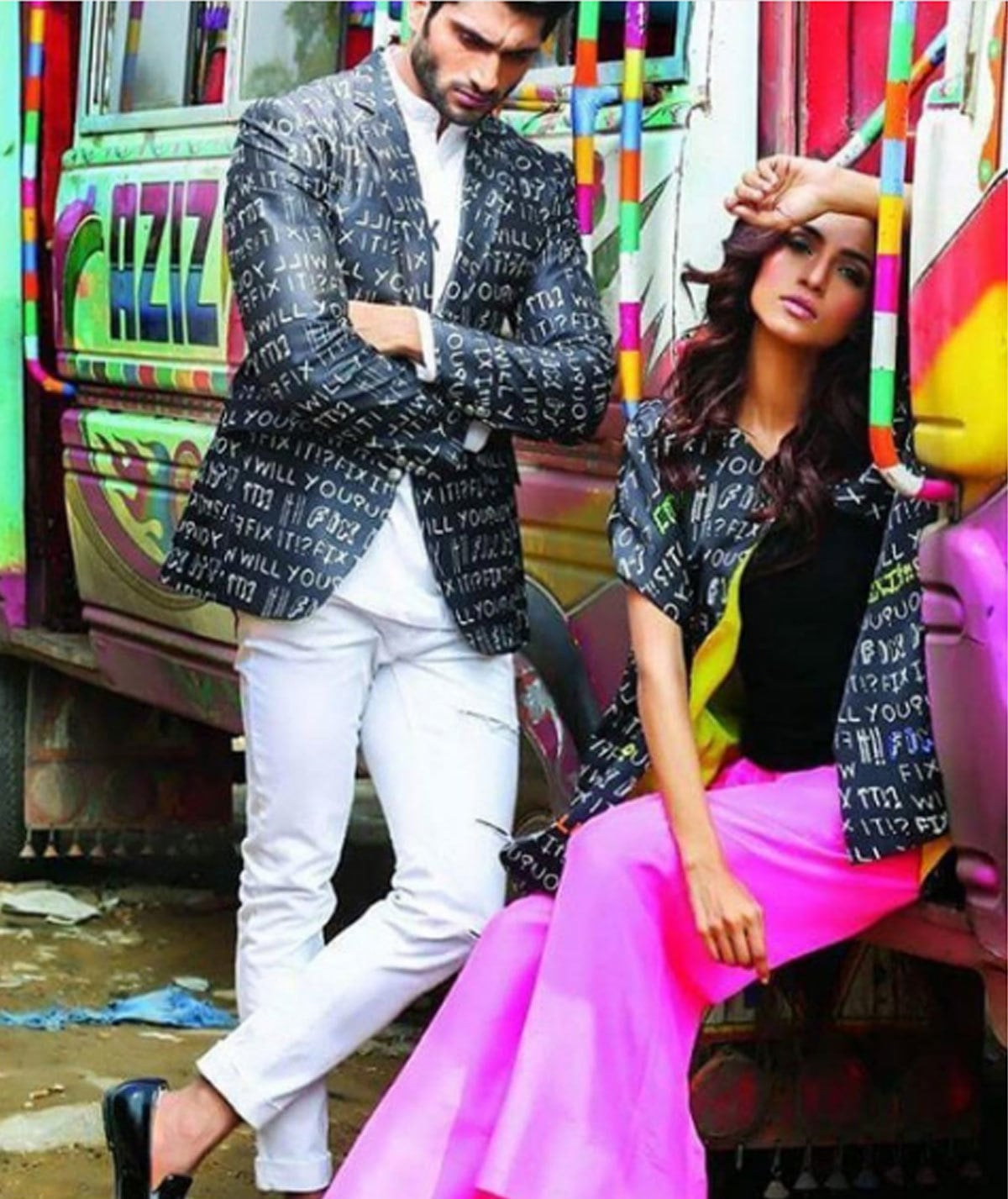 We are in love with this shoot, it's a strange amalgamation of some English funky styled outfits, and a total contrast background with a uniquely designed truck art at a real truck. #asifrehaman #javeriahanif #deepakperwani #fixit - Instagram