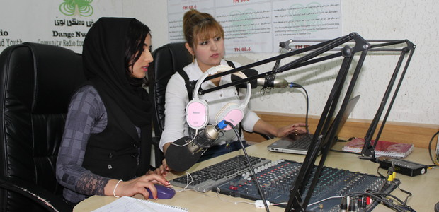 Broadcasting the radio show, By The Displaced People, For The Displaced People, from Halabja in northern Iraq. (photo: سلام  هاندني )