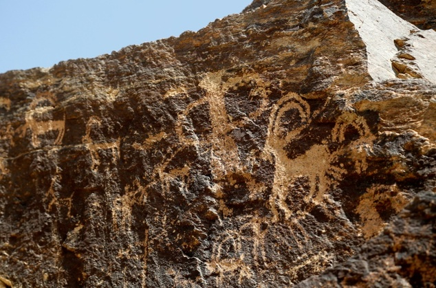 Ancient engravings of ibex deer in the hills outside of Khomein, Iran are some 4,000-years old
