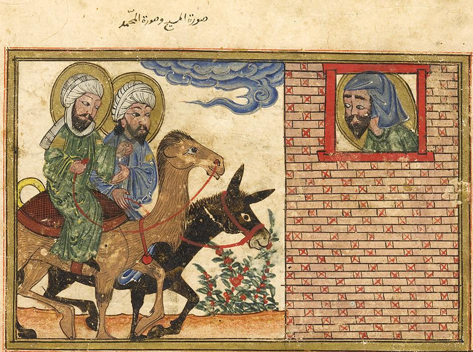 Isaiah's vision of Jesus riding a donkey and Muhammad riding a camel, al-Biruni, al-Athar al-Baqiyya 'an al-Qurun al-Khaliyya (Chronology of Ancient Nations), Tabriz, Iran, 1307-8. Edinburgh University Library. EDINBURGH UNIVERSITY LIBRARY