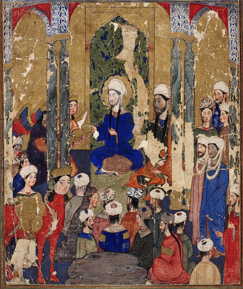 The Prophet Muhammad sits with the Abrahamic prophets in Jerusalem, anonymous, Mi'rajnama (Book of Ascension), Tabriz, ca. 1317-1330. TOPKAPI PALACE LIBRARY