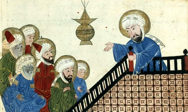 Illustration showing Mohammed (on the right) preaching his final sermon to his earliest converts, on Mount Ararat near Mecca; taken from a medieval-era manuscript of the astronomical treatise The Remaining Signs of Past Centuries by the Persian scholar al-Biruni; currently housed in the collection of the Bibliotheque Nationale, Paris (Manuscrits Arabe 1489 fol. 5v). This scene was popular among medieval Islamic artists, and several nearly identical versions of this drawing (such as this one  and this one) were made in the Middle Ages.