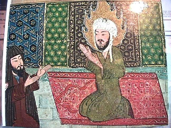 Mohammed greeting ambassadors from Medina. Likely of central Asian origin, though the site on which the image was found does not give an exact date or location.