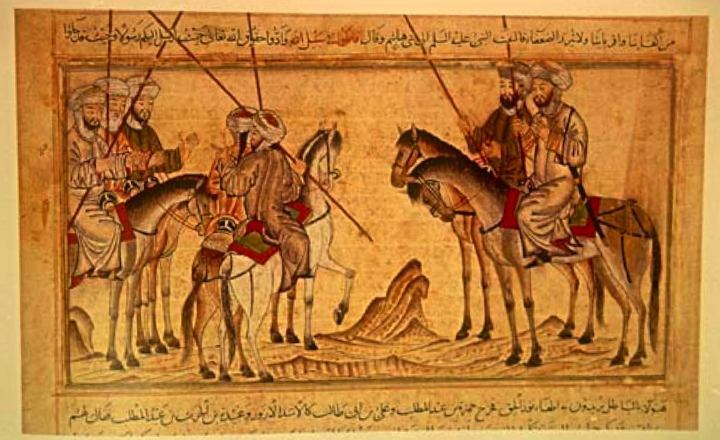 Mohammed exhorting his family before the battle of Badr. It is not immediately apparent which figure in this drawing is Mohammed. From the Jami'al-Tawarikh, dated 1314-5. In the Nour Foundation's Nasser D. Khalili Collection of Islamic Art, London.