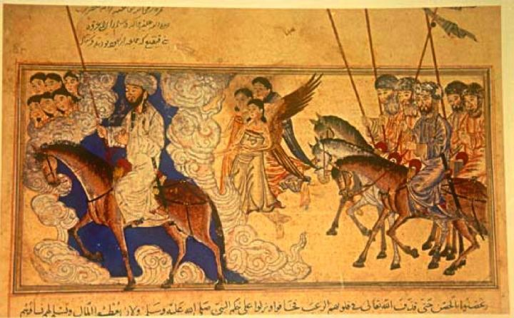 Mohammed (on the left) leading Hamza and the Muslims against Banu Qaynuqa'. From the Jami'al-Tawarikh, dated 1314-5. In the Nour Foundation's Nasser D. Khalili Collection of Islamic Art, London.