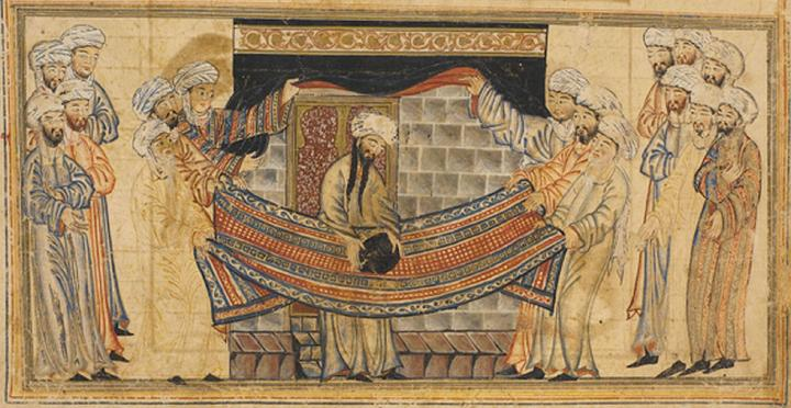 "Mohammed solves a dispute over lifting the black stone into position at the Kaaba. The legends tell how, when Mohammed was still a young man, the Kaaba was being rebuilt and a dispute arose between the various clans in Mecca over who had the right rededicate the black stone. (The Kaaba was at that time still a polytheistic shrine, this being many years before Islam was founded.) Mohammed resolved the argument by placing the stone on a cloth and having members of each clan lift the cloth together, raising the black stone into place cooperatively. Miniature illustration on vellum from the book Jami' al-Tawarikh (literally ""Compendium of Chronicles"" but often referred to as The Universal History or History of the World), by Rashid al-Din, published in Tabriz, Persia, 1307 A.D. Now in the collection of the Edinburgh University Library, Scotland. (Hat tip: Brett K. and Martin H.)"