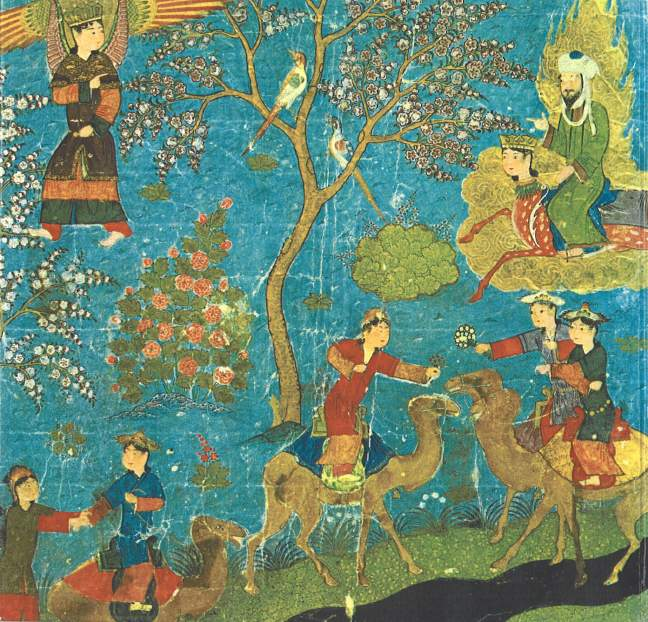 Mohammed (upper right) visiting Paradise while riding Buraq, accompanied by the Angel Gabriel (upper left). Below them, riding camels, are some of the fabled houris of Paradise -- the \