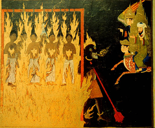 Mohammed, along with Buraq and Gabriel, visit Hell, and see a demon punishing \