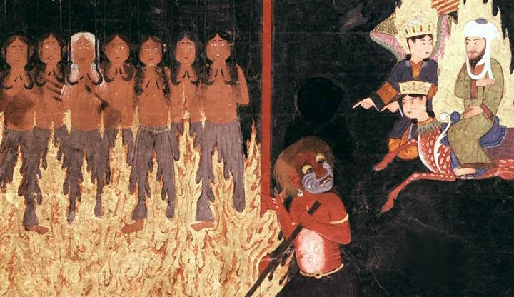 Further on, Mohammed sees a red demon that is torturing women by hanging them up by hooks through their breasts, as they are engulfed in flames. The women are being punished for giving birth to illegitimate children whom they falsely claimed were fathered by their husbands. Persian, 15th century.