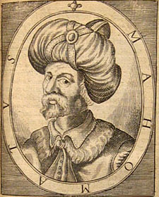 This gravure of Mohammed can be found in Alexander Ross's Pahsebeia, or A View of all Religions in the World, a book from 1683. It should be noted that these clothes were not known in the Arabic peninsula during that period and thus the image is not correct.