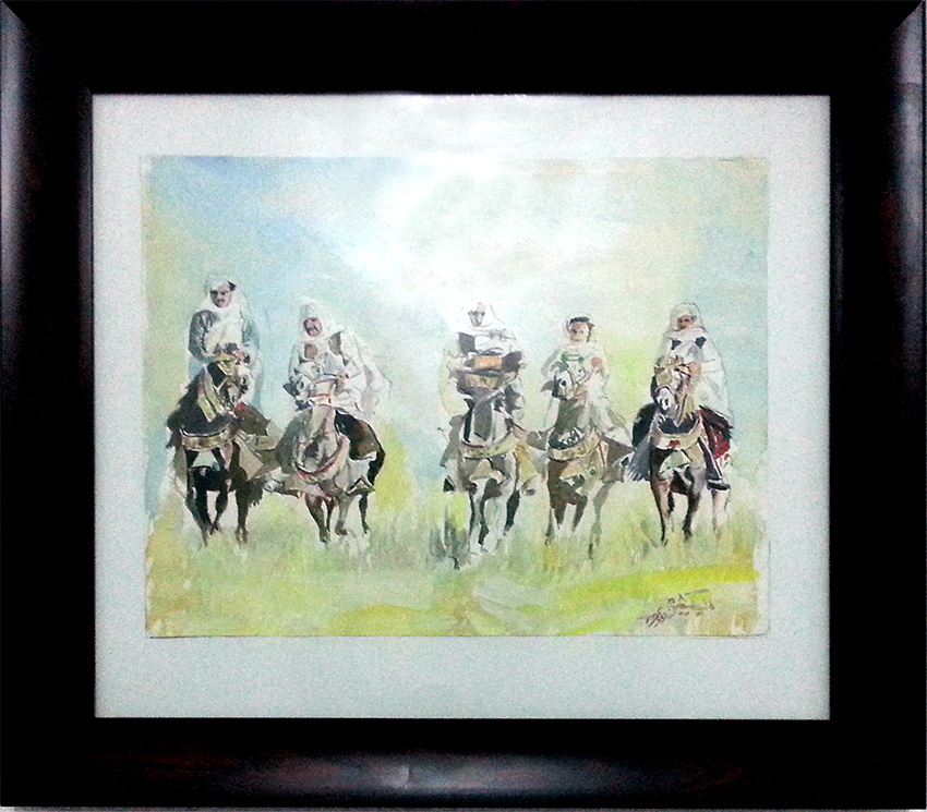 Libyan horse-riders. Horse riding is a popular sport in Libya. Painting by Libyan artist Ramadan Bakshishi