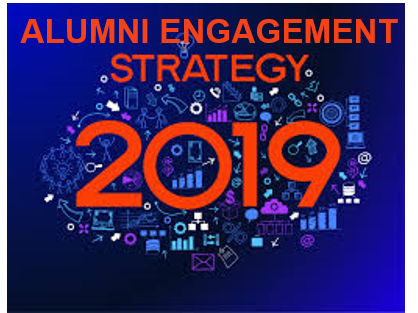 Orange colored words: ALUMNI ENGAGEMENT 2019 on blue background filled with random icons