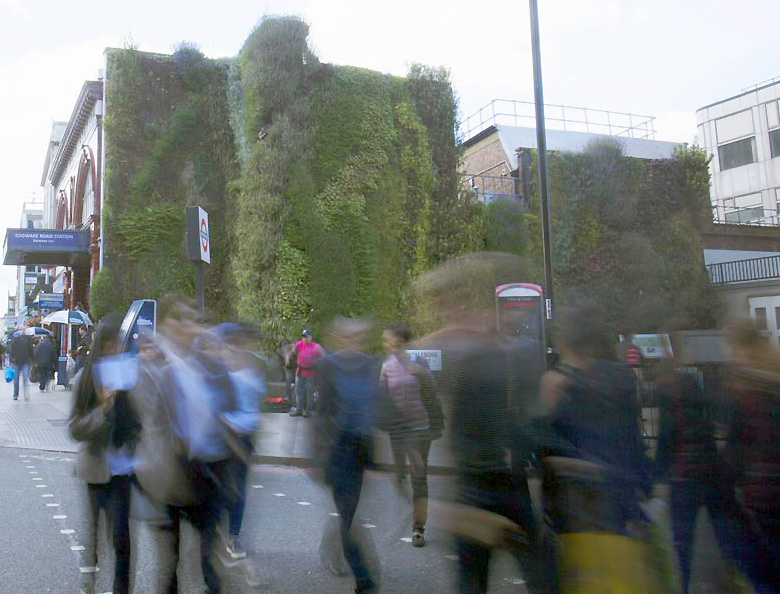 People Rush past a green wall