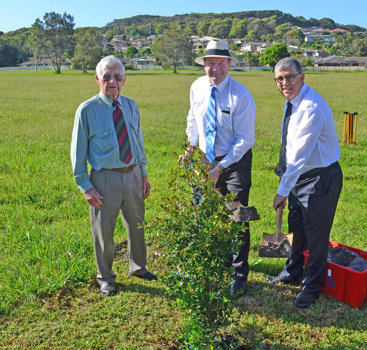 Member for Myall Lakes Stephen Bromhead joined the NSW Minister for Ageing The Hon John Ajaka to turn a grass sod to mark the start of stage one of the Pacific Cape project, a new aged care facility in Forster.