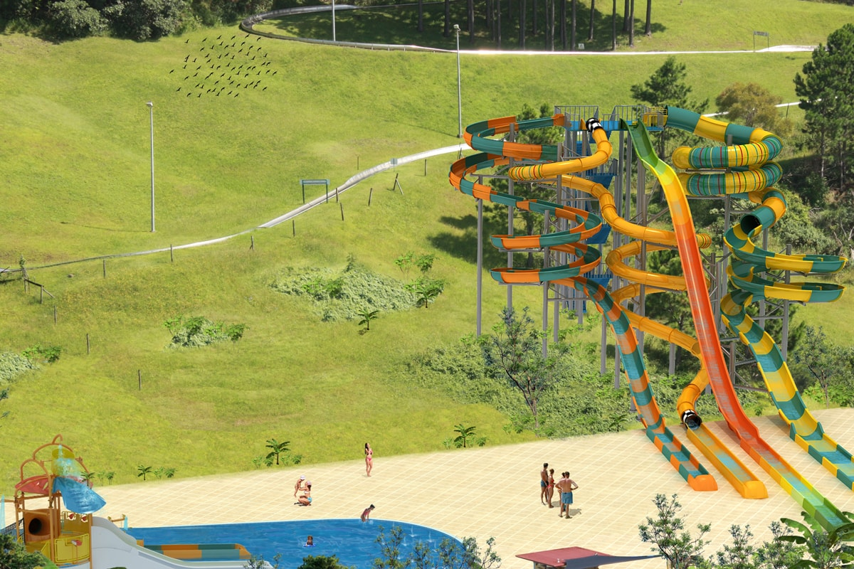 Fraser welcomes the arrival of waterslides for the Big Banana Water Park