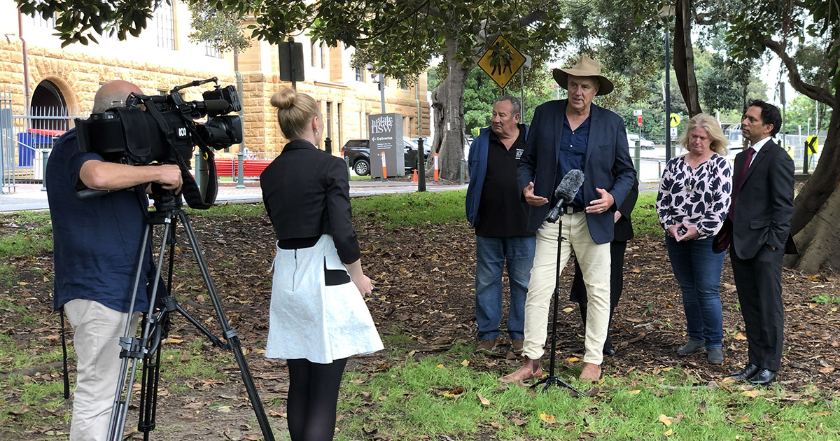 Press conference outside NSW Parliament