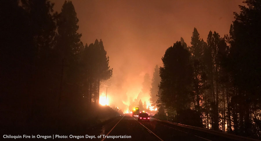 Chiloquin Fire in Oregon, Credit Oregon Dept. of Transportation
