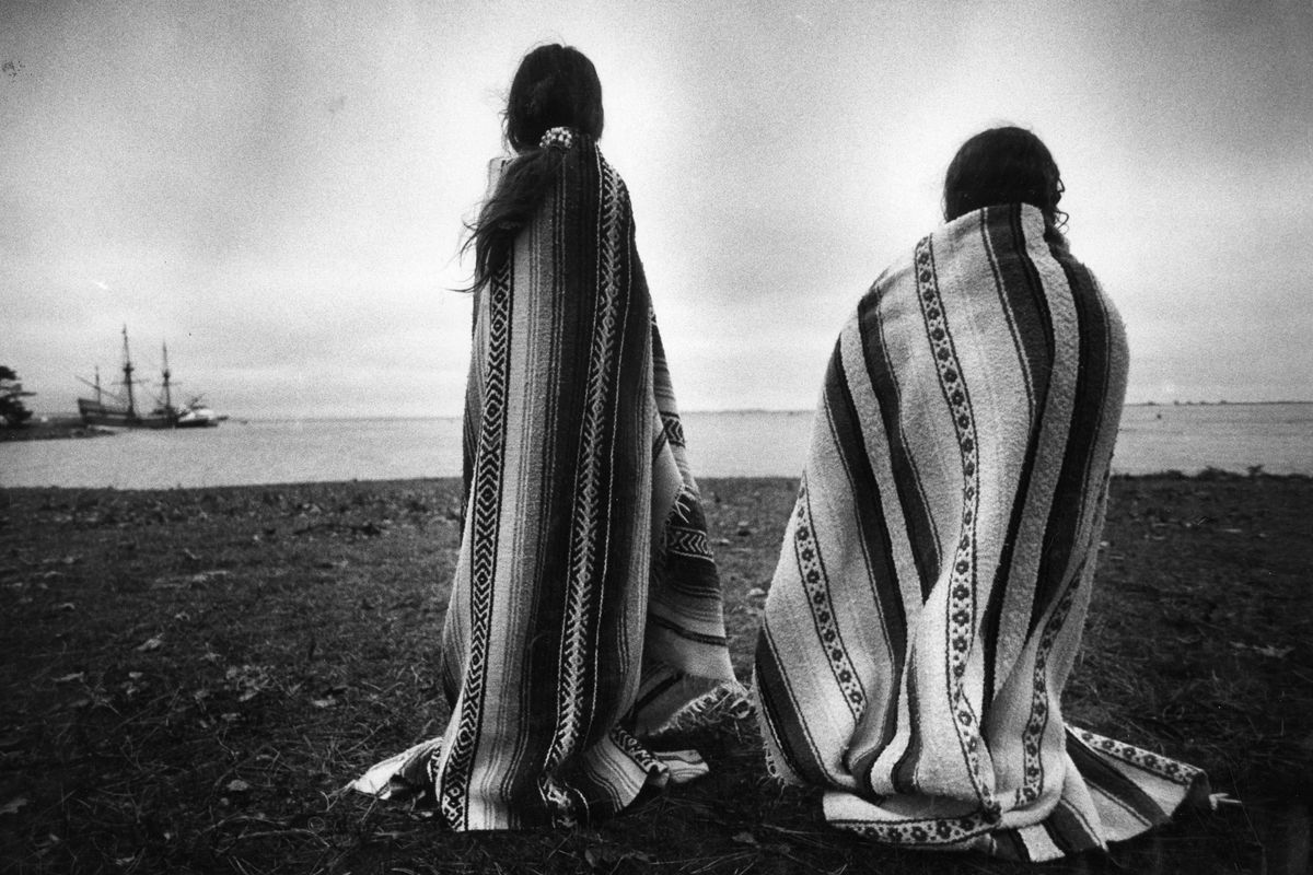 Native American Girls Gather At Plymouth For Day Of Mourning, November 26, 1992. Credit: Suzanne Kreiter/The Boston Globe via Getty Images