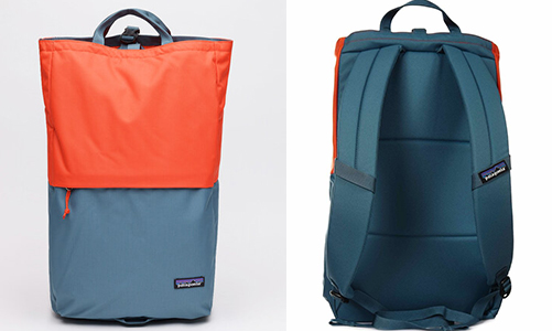 Front and back views of pack- all blue on back with straps, on front it's red on top half and blue on bottom