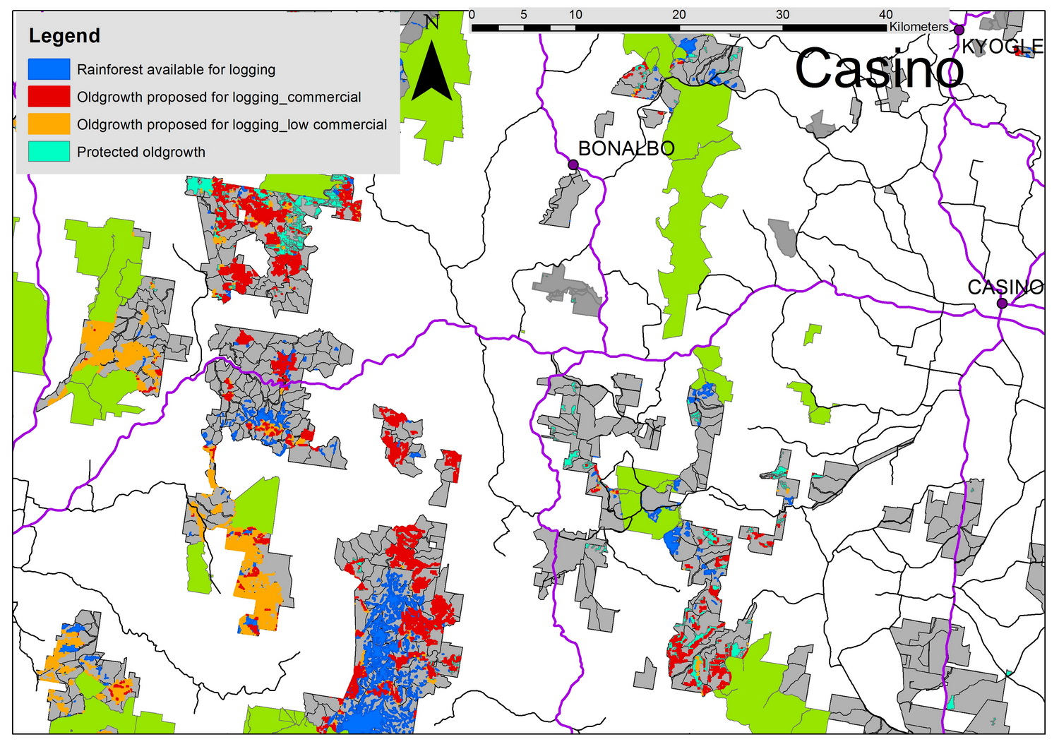 Casino Oldgrowth Logging Map